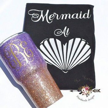 Mermaid at heart shirt, Mermaid at heart T-shirt, Mermaid tank top, Seashell shirt, beach tank top