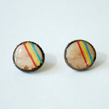 Painted Wooden Branch Slice Post Earrings in Turquoise, Yellow, and Red Stripes
