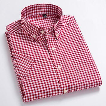 Men's Oxford Casual Shirts Leisure Design Plaid Men's Social Shirts Cotton Short Sleeve Men's Dress Shirts