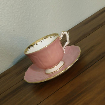 Aynsley pastel pink crocus shape teacup and saucer, English bone china tea set, tea cup, wedding gift, girly tea cup