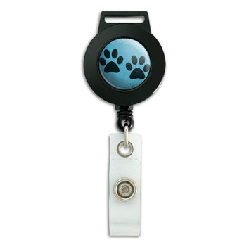 Paw Prints Artsy Blue Retractable Badge Card ID Holder
