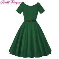 Belle Poque Womens Summer Dresses 2017 Summer Sexy V-Neck Plus Size Party 50s 60s Retro Ladies Rockabilly Swing Vintage Dress