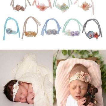 Newborn Photography Flower Headband Baby Girls Handmade Tieback  (Multiple Colors) PHOTO PROP - CCH101
