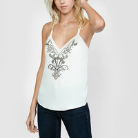 Ornate Rhinestone Embellished Necklace Trim Cami from EXPRESS