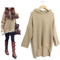 Loose Long Irregular Hem Hooded Sweater