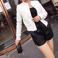 """""""Chanel"""" Women Simple Fashion Logo Letter Embroidery Long Sleeve Zip Cardigan Short Section PU Leather Clothes Jacket Coat"""