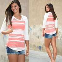 Stripe Patchwork 3/4 Sleeve Scoop Neck Irregular T-shirt