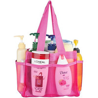 YaeloDesign Shower Caddy Portable Bathroom Mesh Tote Organizer with 7 Storage Compartments Pink