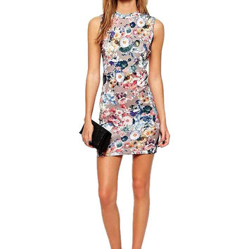 Colorful Slim Dress with Floral Print