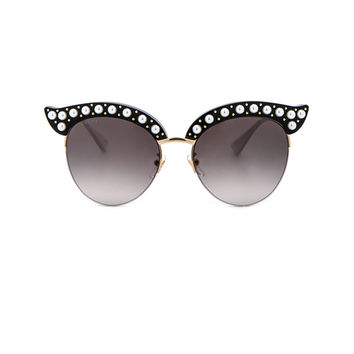 Gucci Opulent Luxury Pop Glitter Sunglasses in Black Pearls Gold | FWRD
