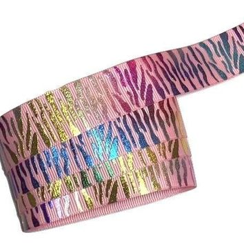 "Metallic rainbow light pink zebra print 7/8"" grosgrain ribbon"