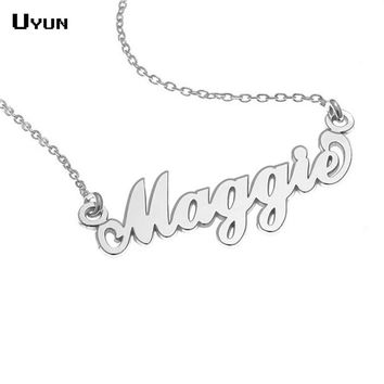 Personalized Carrie Style Name Necklace Silver Custom Name Plate Necklaces Fashion Statement Necklace For Best Friend Jewelry