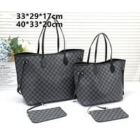 LV tide brand female classic chessboard old flower large capacity shopping bag shoulder bag two-piece Black check
