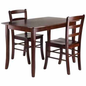 Inglewood 3-PC Set Dining Table w/ 2 Ladderback Chairs