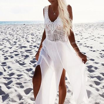 White Patchwork Side Slit Hollow-out Cut Out Fashion Maxi Dress