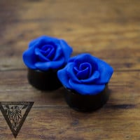"Blue Rosebud flowers plugs,Wedding gauges,Bride gauges,8,10,12,14,16,18,20,22,24-30mm;2g,0g,00g;5/16"",3/8"",1/2"",9/16"",5/8"",3/4"",7/8"",1 1/4"""