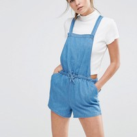 New Look Chambray Drawstring Playsuit