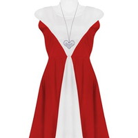 Red Contrast V Dress