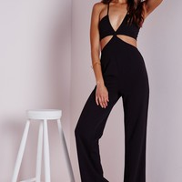 Missguided - Strappy Plunge Cut Out Jumpsuit Black