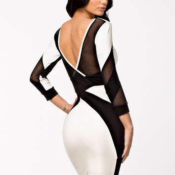 Black and White Long Sleeve Mesh Backless Bodycon Midi Dress