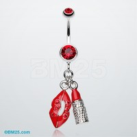 Glamourous Lip and Lipstick Belly Ring