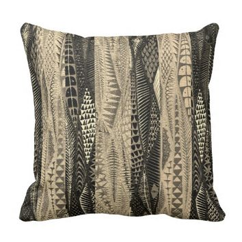 Distressed African Mud Cloth Pattern Throw Pillow