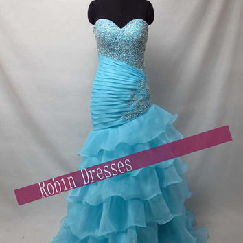 New Custom-made Strapless Sweetheart Long Floor Length Blue Mermaid Prom Dresses