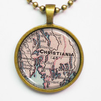 Christiania Map Necklace -Christiania, Oslo, Norway- Vintage Map Series