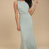 Trista Grey Cutout Maxi Dress