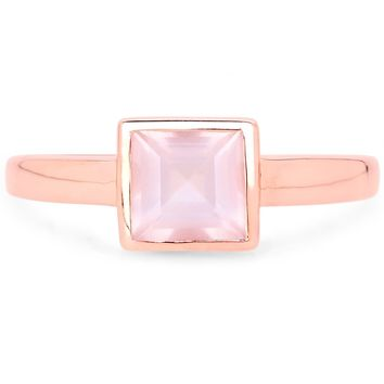 LoveHuang 0.97 Carats Genuine Rose Quartz Square Bezel Ring Solid .925 Sterling Silver With 18KT Rose Gold Plating