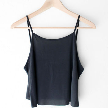 Basic Cropped Cami - Black