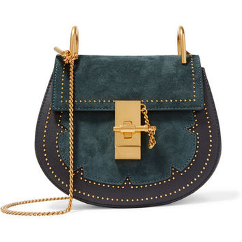 Chloé - Drew mini studded suede and leather shoulder bag