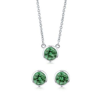 Bezel Set Round Cut Emerald Cubic Zirconia CZ 925 Sterling Silver Solitaire Pendant Necklace And Stud Earrings Matching 2 Pc Set #vs102