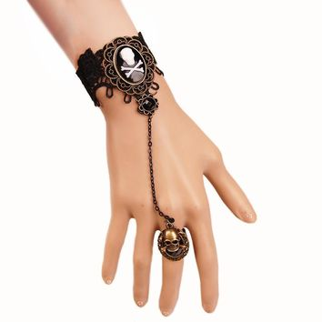 Charming Skull Head Black Lace Bracelet With One Chain Ring Trendy