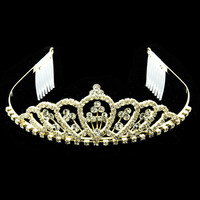 Gold Crystal Classic Style Tiara