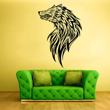 rvz428 Wall Vinyl Sticker Bedroom Decal Decal Wolf Head Tribal