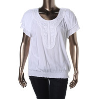 Cable & Gauge Womens Scoop Neck Short Sleeves Pullover Top