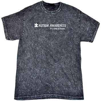 Buy Cool Shirts Autism Awareness Time to Listen Mineral Washed Tie Dye Shirt