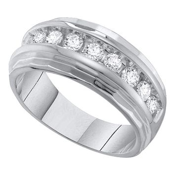 10kt White Gold Men's Round Diamond Ridged Edges Single Row Wedding Band Ring 1.00 Cttw - FREE Shipping (US/CAN)