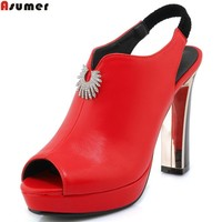 ASUMER black red white fashion new arrive women pumps peep toe ladies shoes spring platform thick heel high heels shoes