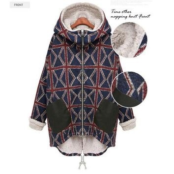 Women Winter Coat Clothes Lamb Jackets Thickening Warm Hooded Parka Overcoat Plus Size Geometric Irregular Poncho Cotton Coats