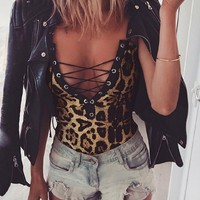 Feisty Kitty Leopard Print Bodysuit