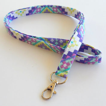 Purple Tribal Lanyard / Aztec Print / Boho Keychain / Bohemian / Tribal Print / Key Lanyard / ID Badge Holder / ID Lanyard / Pretty Lanyards