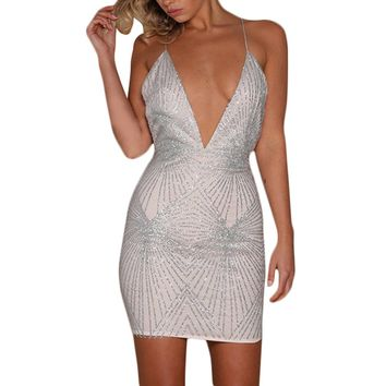 Sparkly Plunging V Party Dress
