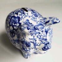 Vintage Figural Blue Transferware Floral Chintz Pig Piggy Bank James Kent Hard to Find