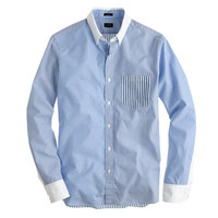 SLIM SECRET WASH WHITE COLLAR SHIRT IN MULTI BLUE STRIPE