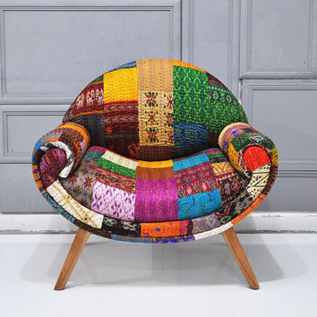Smiley Patchwork armchair with Indian silk Sari fabrics