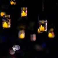 Hanging Mason Jar Lanterns - 4 Large Jars and Hangers