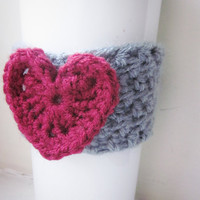 Crochet Cup Cozy The Heart Coffee Cup Sleeve in Gray and Sweetheart Red