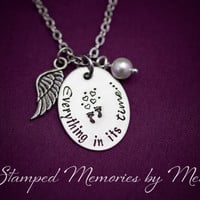 Everything in its time - Miscarriage, Infant Loss Necklace- Hand Stamped Stainless Steel - Angel Wing - Personalized Remembrance Gift